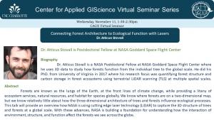CAGIS virtual seminar 11/11: NASA scientist Atticus Stovall explores forest structure with LiDAR