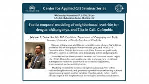 CAGIS Seminar November 6 | Space-Time Modeling of Mosquito-borne Disease Outbreaks