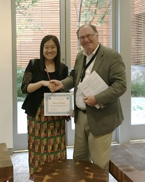 Award presented to Minrui Zheng by Dr. Keith Clarke from UC Santa Barbara